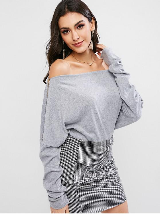 ladies Zipper Embellished Off Shoulder Solid Tee - GRAY XL