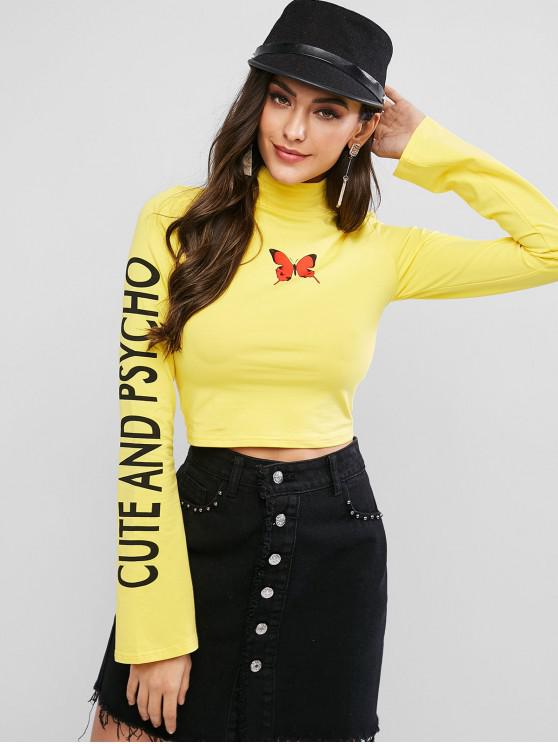 hot Mock Neck Butterfly Cute And Psycho Cropped Tee - YELLOW M