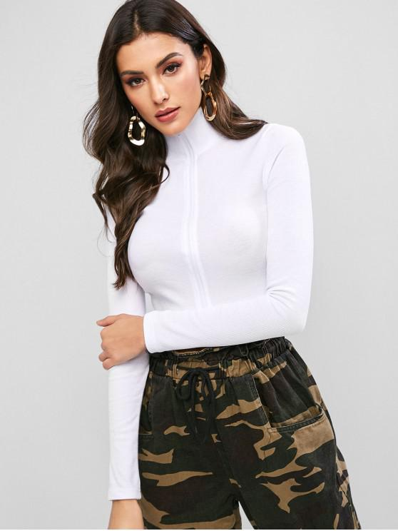 sale Mock Neck Zip Front Ribbed Cropped Tee - WHITE L