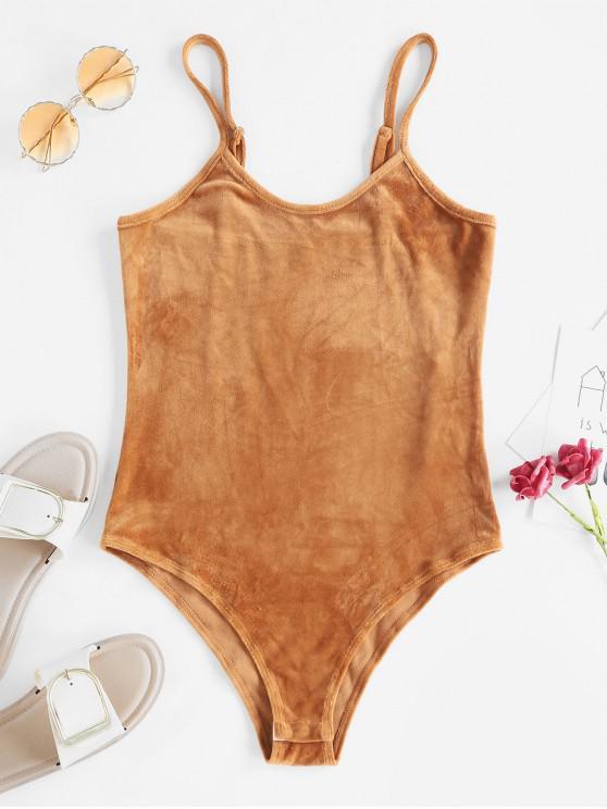 women Cami High Rise Velvet Bodysuit - DARK GOLDENROD S