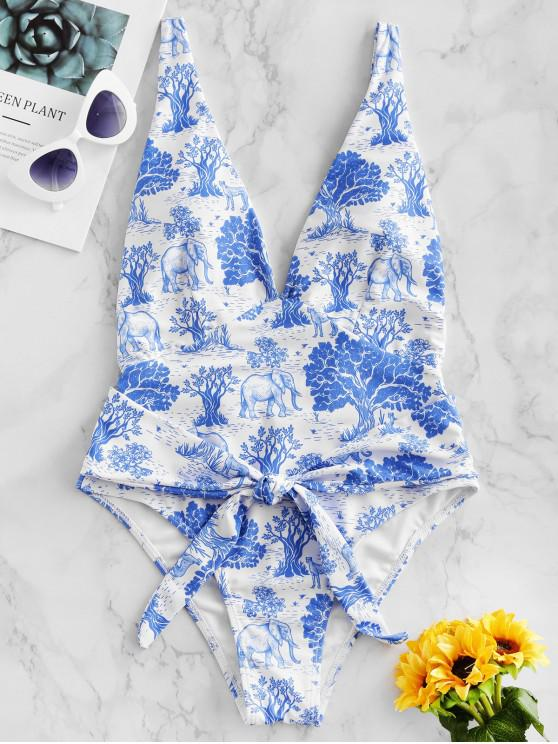 womens ZAFUL Forest Plant Animal Drop Armhole One-piece Swimsuit - BLUE KOI S