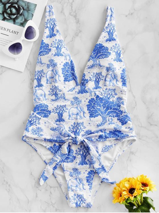 ZAFUL Bosque Planta animal de la gota de la sisa de una sola pieza del traje de baño - Azul de Koi XL