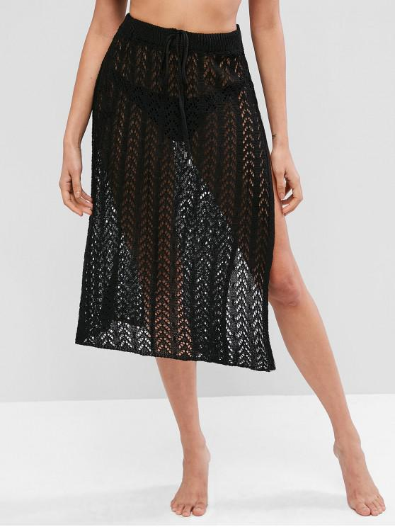 trendy Drawstring High Slit Crochet Skirt - BLACK ONE SIZE