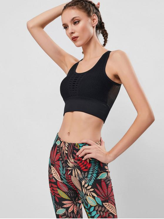 women Solid Color Hollow Out U Neck Sports Bra - BLACK M