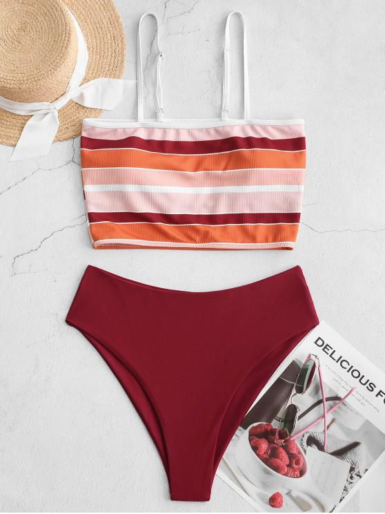 womens ZAFUL Ribbed Striped High Cut Tankini Swimsuit - RED WINE L