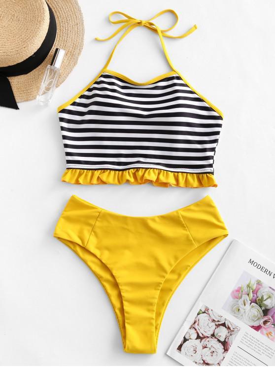 buy ZAFUL Halter Striped Frilled High Leg Tankini Swimsuit - MUSTARD L