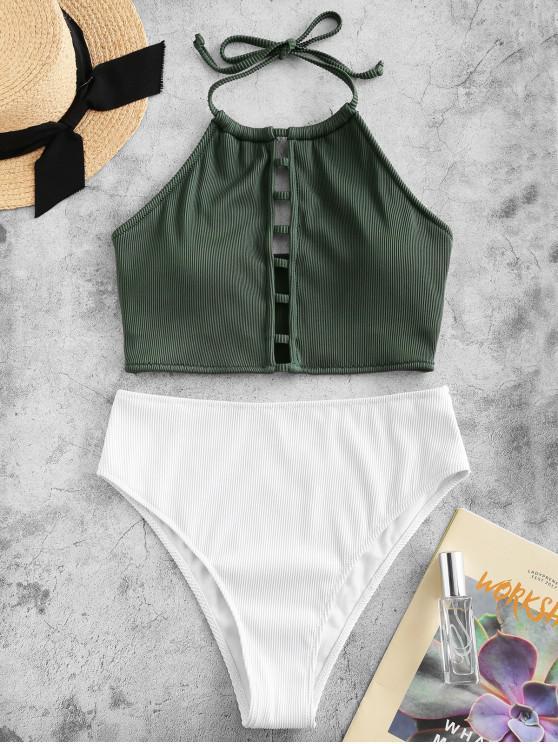 sale ZAFUL Textured Ribbed Ladder Cutout Halter Tankini Swimsuit - MEDIUM SEA GREEN M