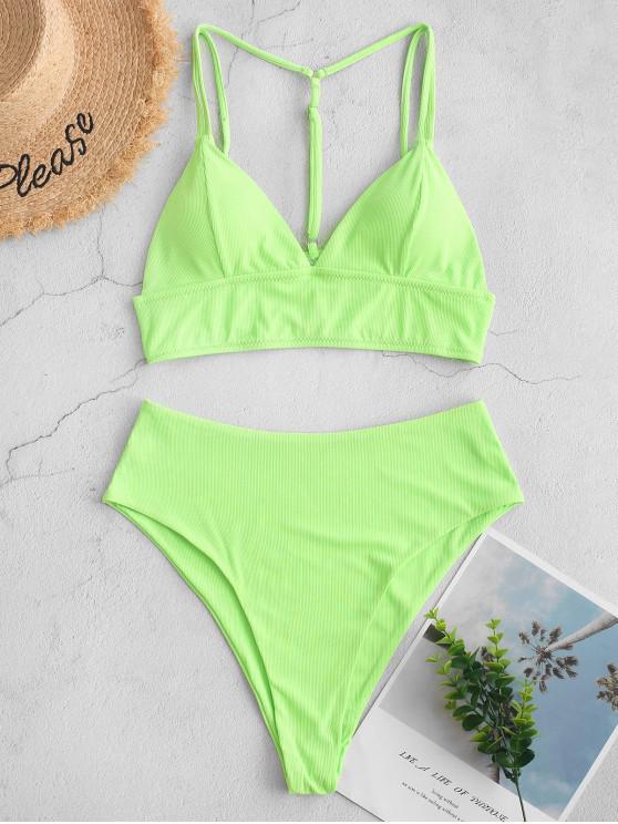 shops ZAFUL High Cut Neon Ribbed Double Strap Tankini Swimsuit - GREEN M