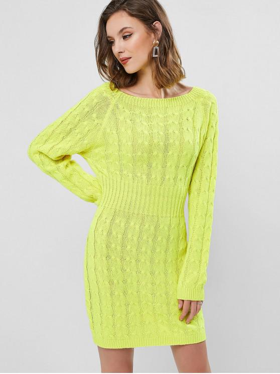 sale Raglan Sleeve Cable Knit Mini Sweater Dress - YELLOW ONE SIZE
