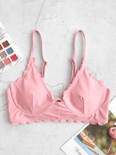 Bikini Top Con Ferretto Con Bordi Smerlati Di ZAFUL - Rosa Rosa S
