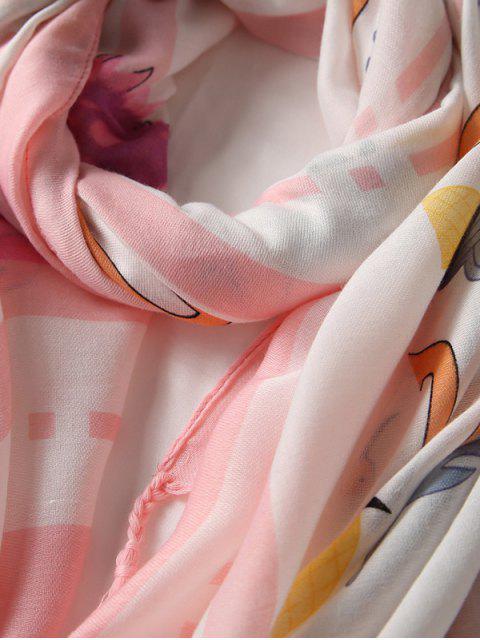 outfits Printed Tassels Embellished Long Silk Scarf - PIG PINK  Mobile