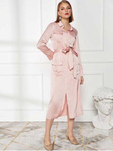 Robe Boutonnée Ceinturée avec Poche - ROSE PÂLE L Mobile