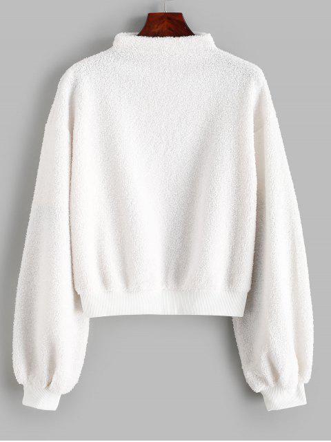 Sudadera de peluche con cuello simulado ZAFUL - Blanco L Mobile