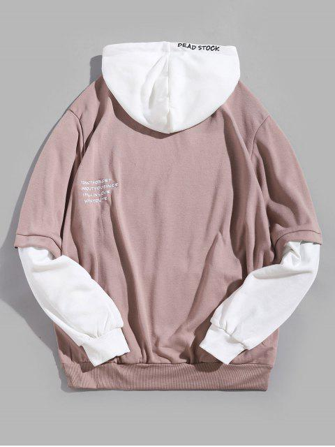 online Contrast Faux Twinset Letter Embroidery Drawstring Hoodie - PINK ROSE M Mobile