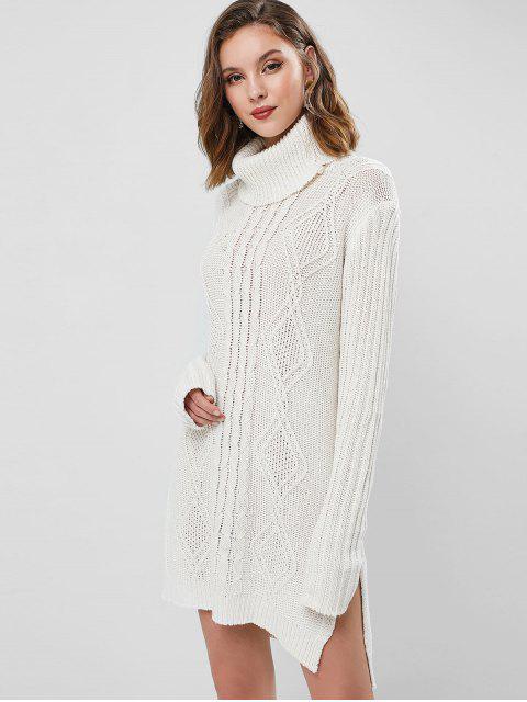 Robe Pull Tunique en Tricot à Câble à Col Roulé - Blanc Taille Unique Mobile
