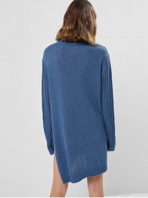 Robe Pull Tunique en Tricot à Câble à Col Roulé - Bleu de Soie Taille Unique Mobile