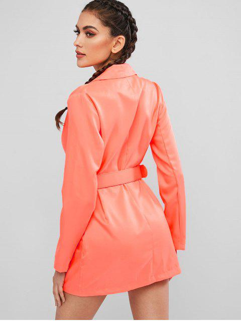 outfit Neon Belted One Button Blazer Dress - ORANGE M Mobile