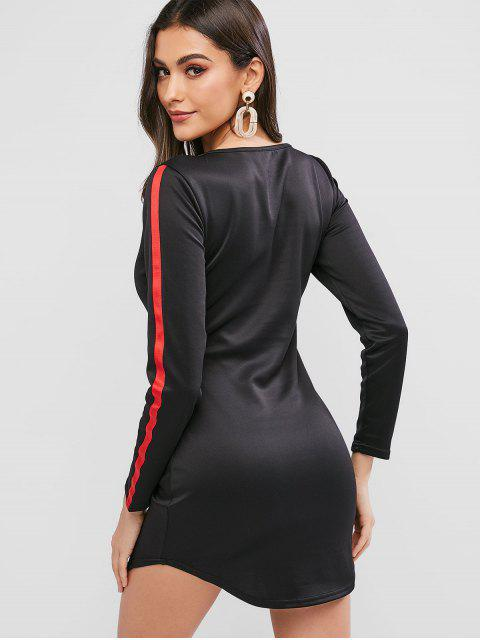Robe Courte Moulante à Manches Longues - Noir XL Mobile