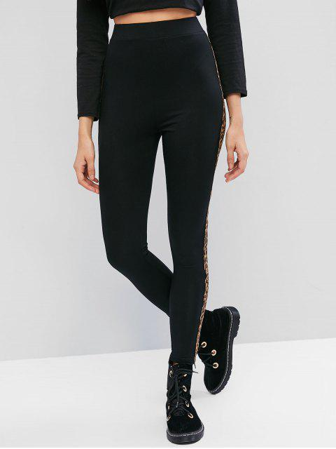 unique ZAFUL Side Leopard High Waisted Leggings - MULTI-A S Mobile