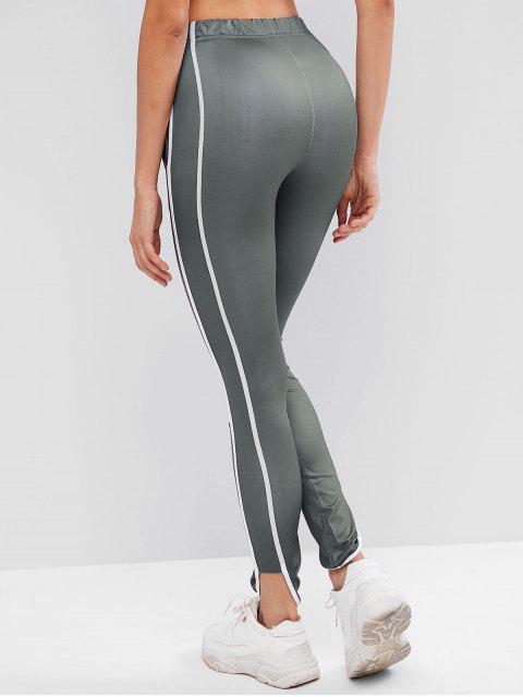 fancy Drawstring Contrast Piping Uneven Hem Leggings - JET GRAY XL Mobile