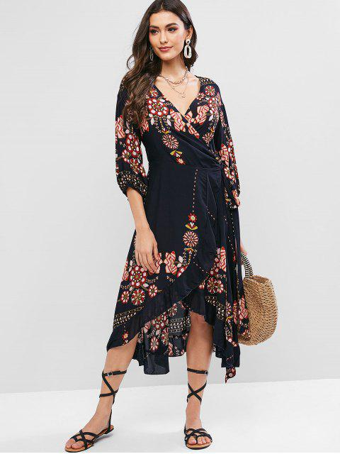 buy ZAFUL Flower Print Midi Flounce Wrap Casual Dress - MULTI-A S Mobile