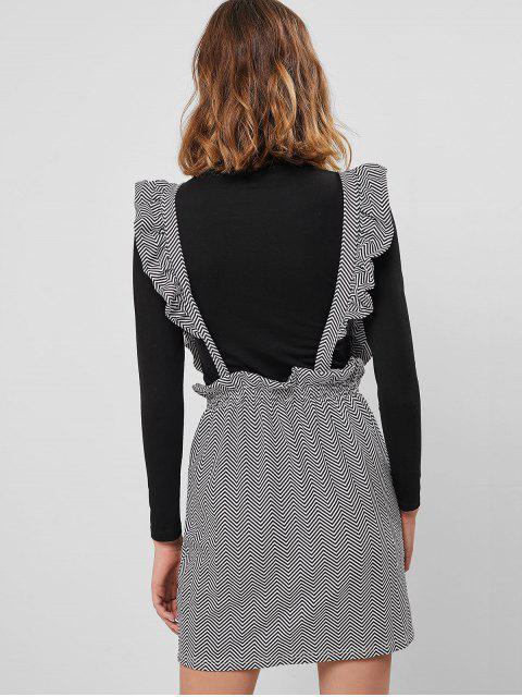 chic Ruffle Bodycon Suspender Skirt - WHITE L Mobile