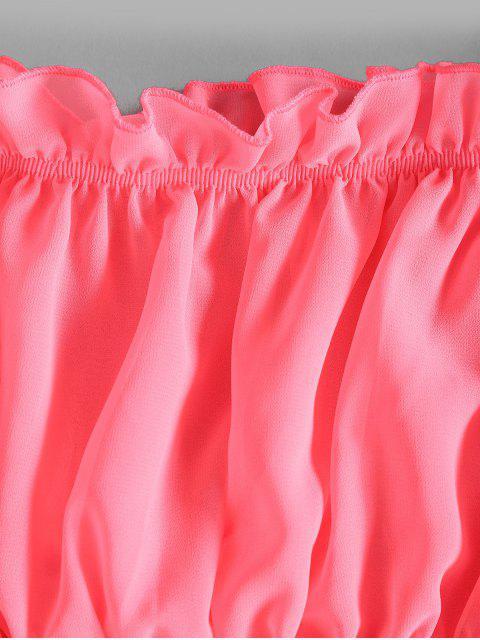 best Off Shoulder Ruffle Crop Blouse - ROSE RED M Mobile