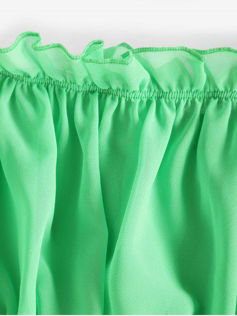 buy Off Shoulder Ruffle Crop Blouse - GREEN M Mobile