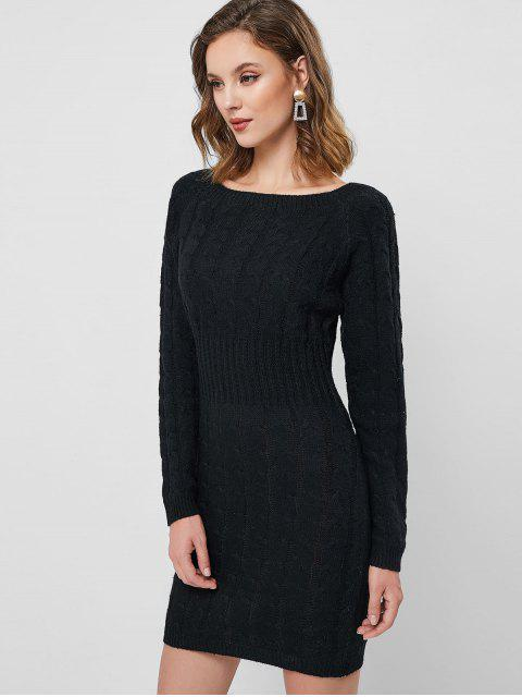 chic Raglan Sleeve Cable Knit Mini Sweater Dress - BLACK ONE SIZE Mobile