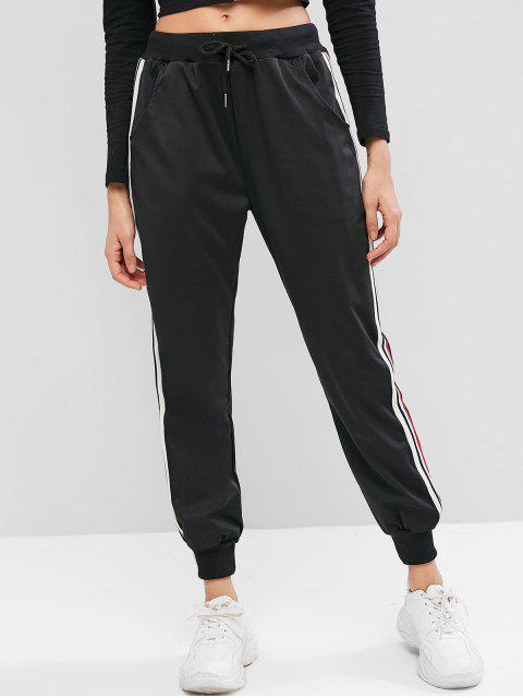 affordable Pocket Striped Tape Drawstring Jogger Pants - BLACK S Mobile
