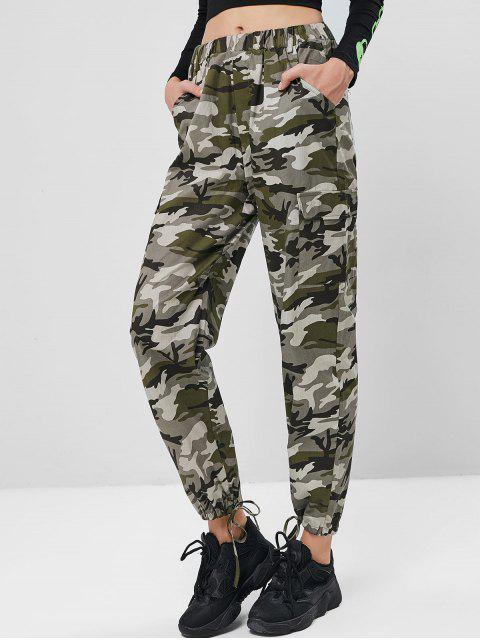Pantalones de chándal con bolsillos de camuflaje en el dobladillo con cordón - ACU Camuflaje M Mobile
