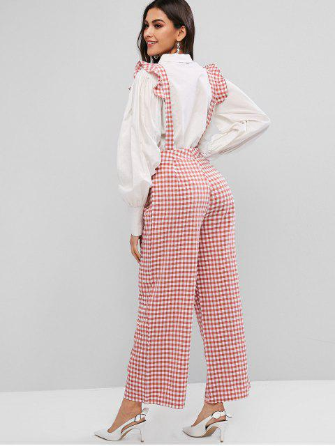 Pantalones de tirantes de pierna ancha con guinga y tirantes - Rojo XL Mobile