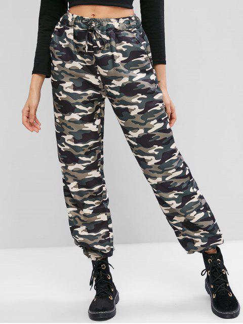 Pantalones jogger con bolsillos con estampado de camuflaje - Ejercito Verde L Mobile