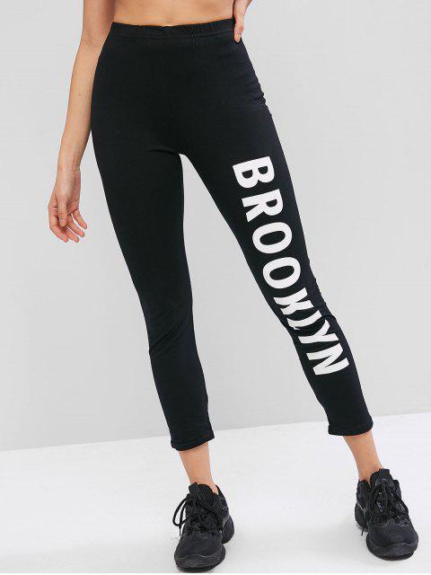 Pantalones elásticos ajustados de talle alto con estampado de letras - Negro M Mobile