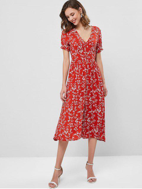 shop ZAFUL Floral V Neck A Line Midi Slit Dress - CHESTNUT RED S Mobile