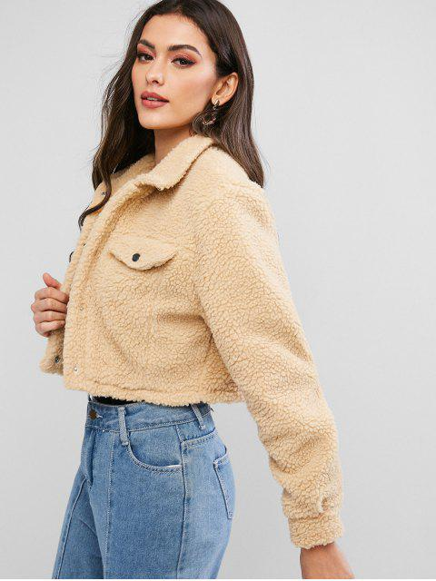 shops ZAFUL Snap Button Teddy Cropped Jacket - TAN L Mobile