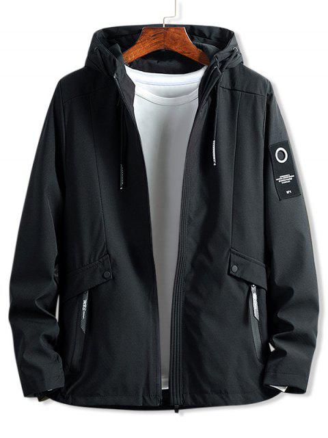 best Letter Patch Solid Zipper Hooded Jacket - BLACK L Mobile
