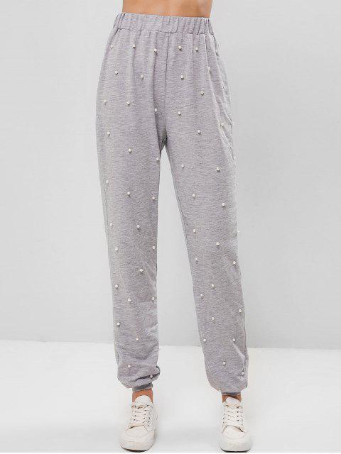Pantalones jogger de cintura alta con perlas de imitación ZAFUL - Gris Claro L Mobile