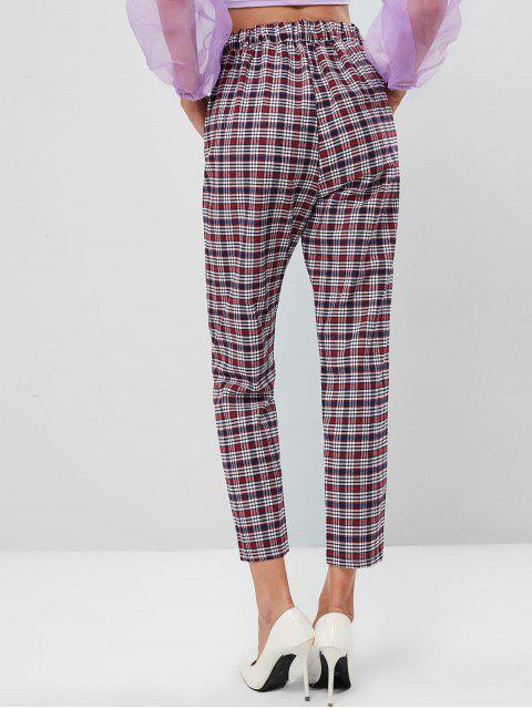 Pantalones de cintura alta con bolsillo a cuadros - Multicolor L Mobile