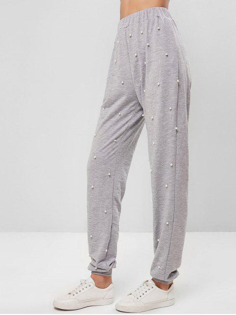 Pantalones jogger de cintura alta con perlas de imitación ZAFUL - Gris Claro XL Mobile