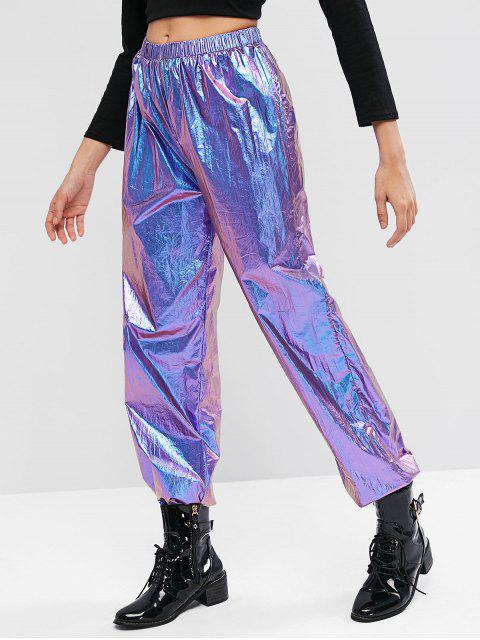Pantalones de chándal de cintura alta metálicos ZAFUL - Púrpura L Mobile