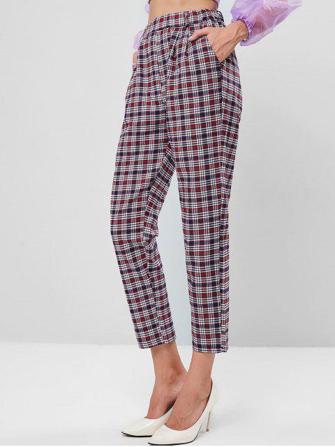 Pantalones de cintura alta con bolsillo a cuadros - Multicolor M Mobile