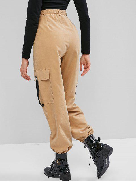 Pantalones de chándal de cintura alta con bolsillo y cremallera lateral ZAFUL - Caqui L Mobile