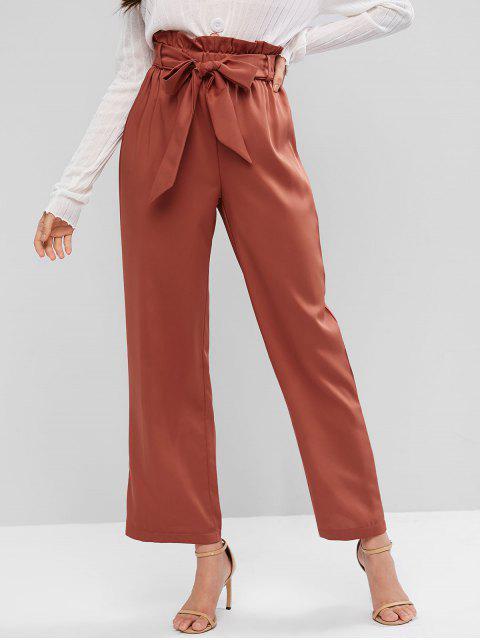 Pantalones de bolsa de papel con cinturón de pierna ancha y cintura alta de ZAFUL - Castaño Rojo M Mobile
