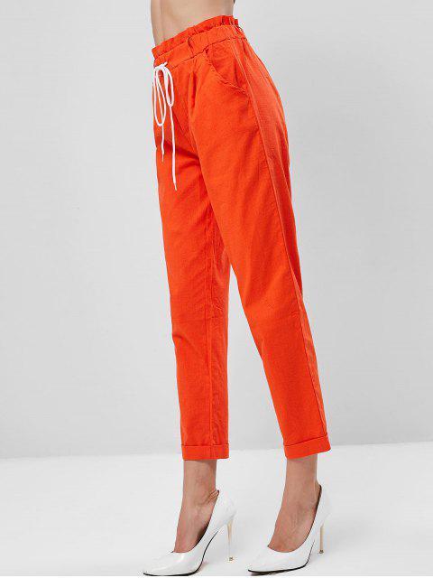Bolsillos, lazo, cintura, dobladillo con dobladillo, bolsa de papel, pantalones - Naranja de Halloween M Mobile