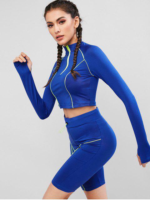 Raglan Sleeve Half Zip Biker Shorts Traje deportivo - Azul L Mobile