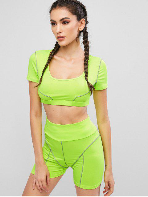 ladies Cropped Neon Top And Biker Shorts Sports Suit - GREEN YELLOW M Mobile