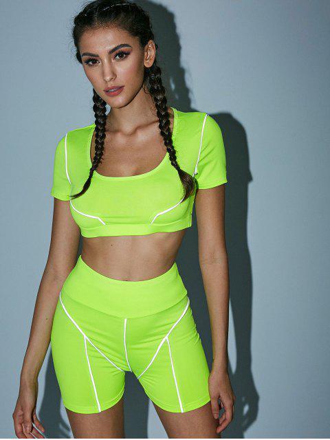 Top deportivo de neón corto y pantalones cortos de motociclista - Verde Amarillo L Mobile