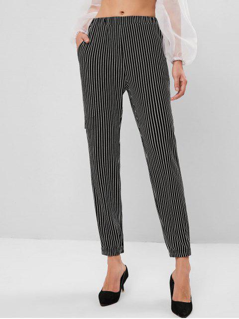 Pantalones de bolsillo de cintura alta a rayas ZAFUL - Negro S Mobile
