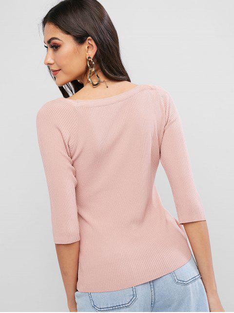 スキューネックシンチドプルオーバーセーター - ピンク ワンサイズ Mobile